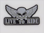 LIVE TO RIDE WINGED SKULL 3D EFFECT FRIDGE MAGNET